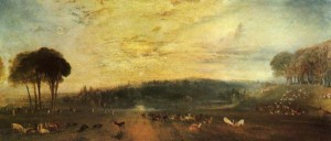 NATIONAL PICTURES  The Lake, Petworth: Sunset, Fighting Bucks (c. 1829) was one of the paintings by J. M. W. Turner analyzed by Zerefos et al. to study the past atmosphere.  Famous paintings showing the lurid colours of sunsets are helping scientists to study previous pollution levels in the Earth's atmosphere.   In particular, the paintings including JMW Turner, reveal that ash and gas released during major volcanic eruptions scatter the different colours of sunlight, making sunsets appear redder.   The results, published in the journal Atmospheric Chemistry and Physics, reveal that when the Tambora volcano in Indonesia erupted in 1815, painters in Europe could see the colours of the sky changing.   The volcanic ash and gas spewed into the atmosphere travelled the world and, as these aerosol particles scattered sunlight, they produced bright red and orange sunsets in Europe for up to three years after the eruption.   J.M.W. Turner was one of the artists who painted the stunning sunsets during that time.   Now, scientists are using his and other great masters' paintings to retrieve information on the composition of the past atmosphere.