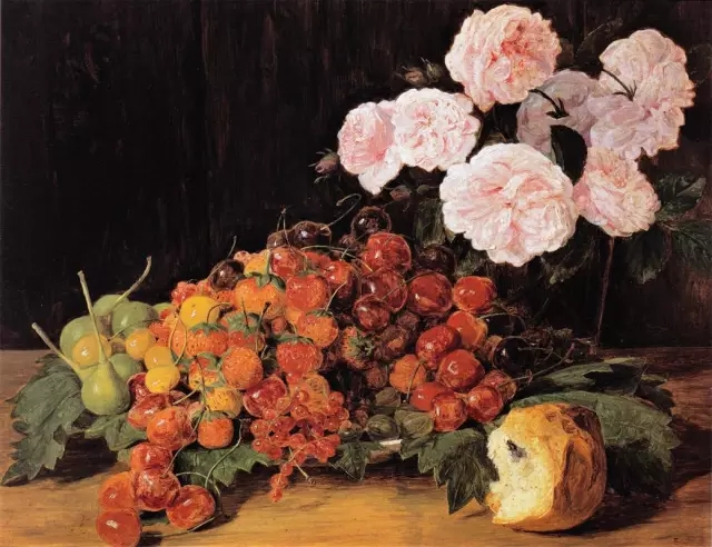 Ferdinand Georg Waldmüller, Still life with roses, strawberries, and bread, 1827.webp